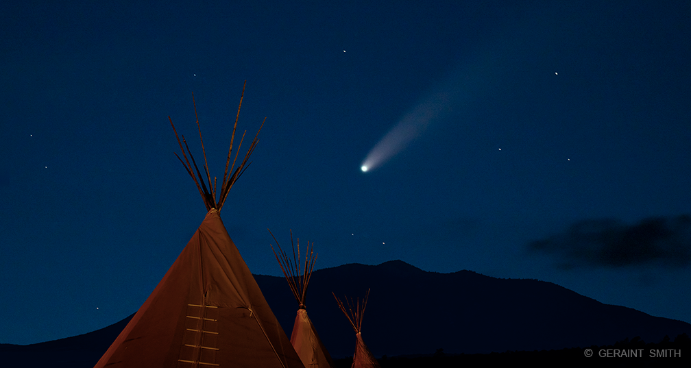 Tipis, Comet, Stars, Northern New Mexico.