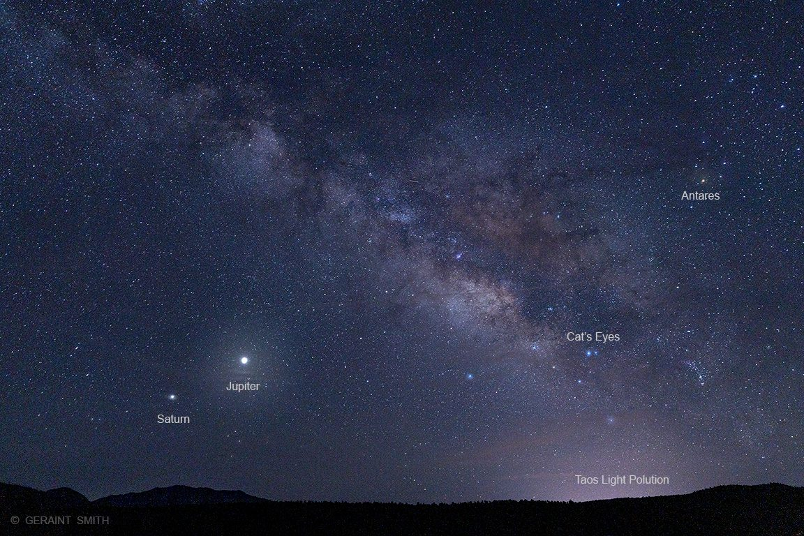Milky Way, Saturn, Jupiter, Antares, Scorpius labels