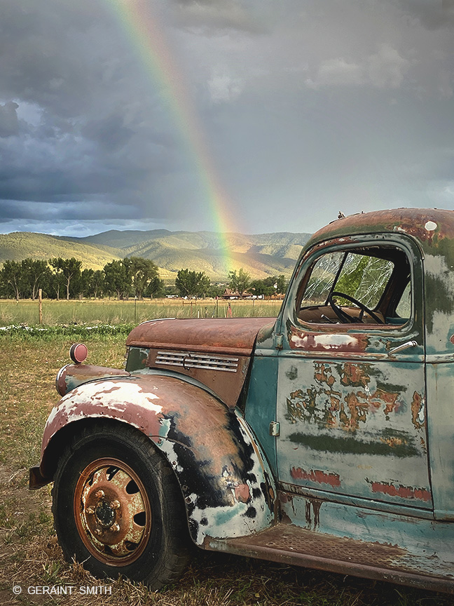 Rainbows, monsoons, old trucks, New Mexico.