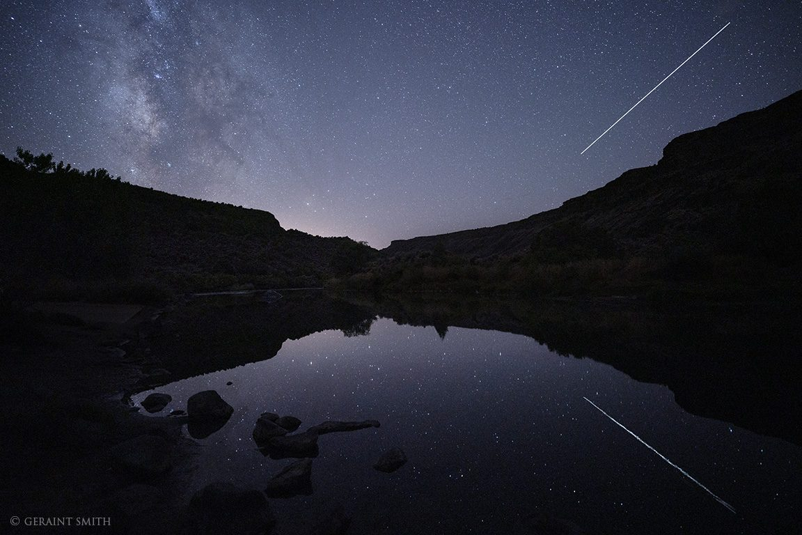 Starry night in the Rio Grande Gorge, Pilar, New Mexico.