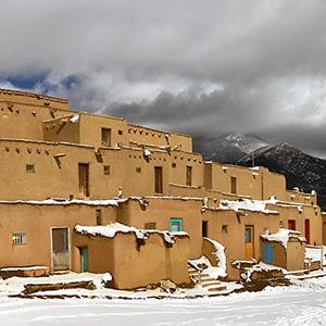Taos Pueblo, Taos Mountain, Snow.