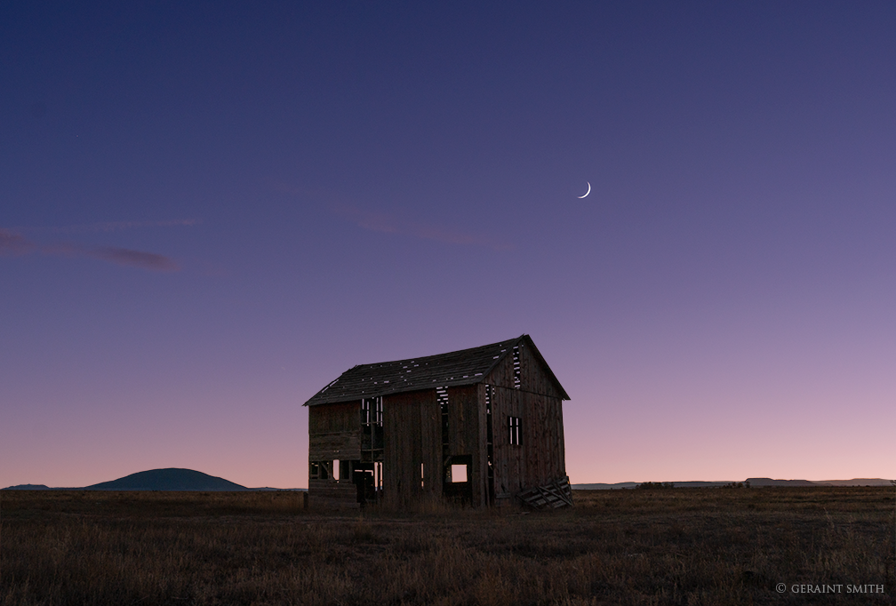 Ute Mountain, Red Barn, Crescent Moon, Colorado