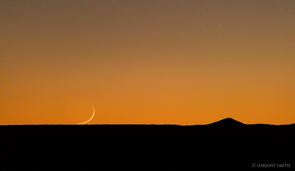 Waxing Crescent Moon, over the Taos Plateau, Volcanic Field.