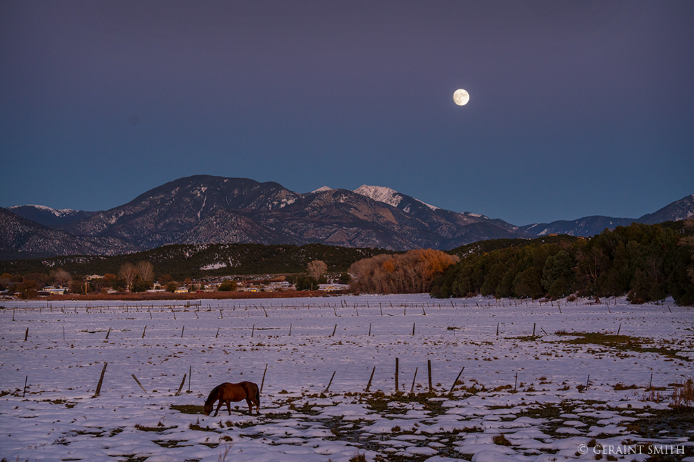 Arroyo Hondo Valley and a Mountain Moonrise, northern New Mexico.