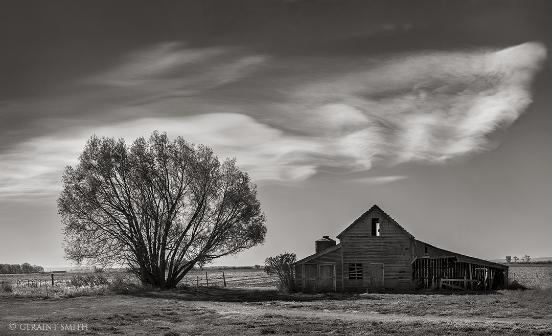 Red Barn, Black And White, Cloud, Capulin, Colorado