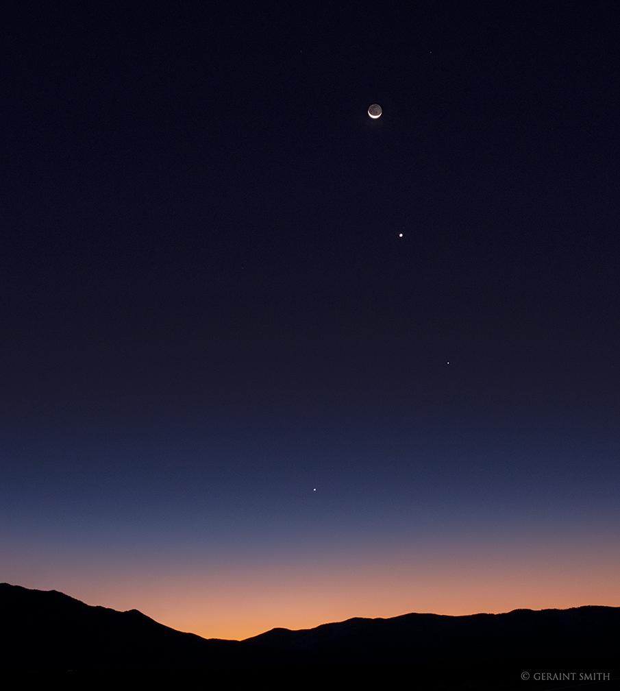 Mercury, Spica, Venus, Crescent Moon, Arcturus
