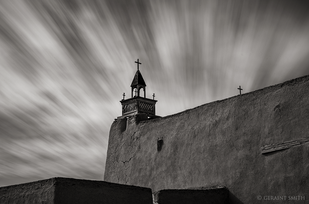 High Road to Taos, Las Trampas Church, and sky.
