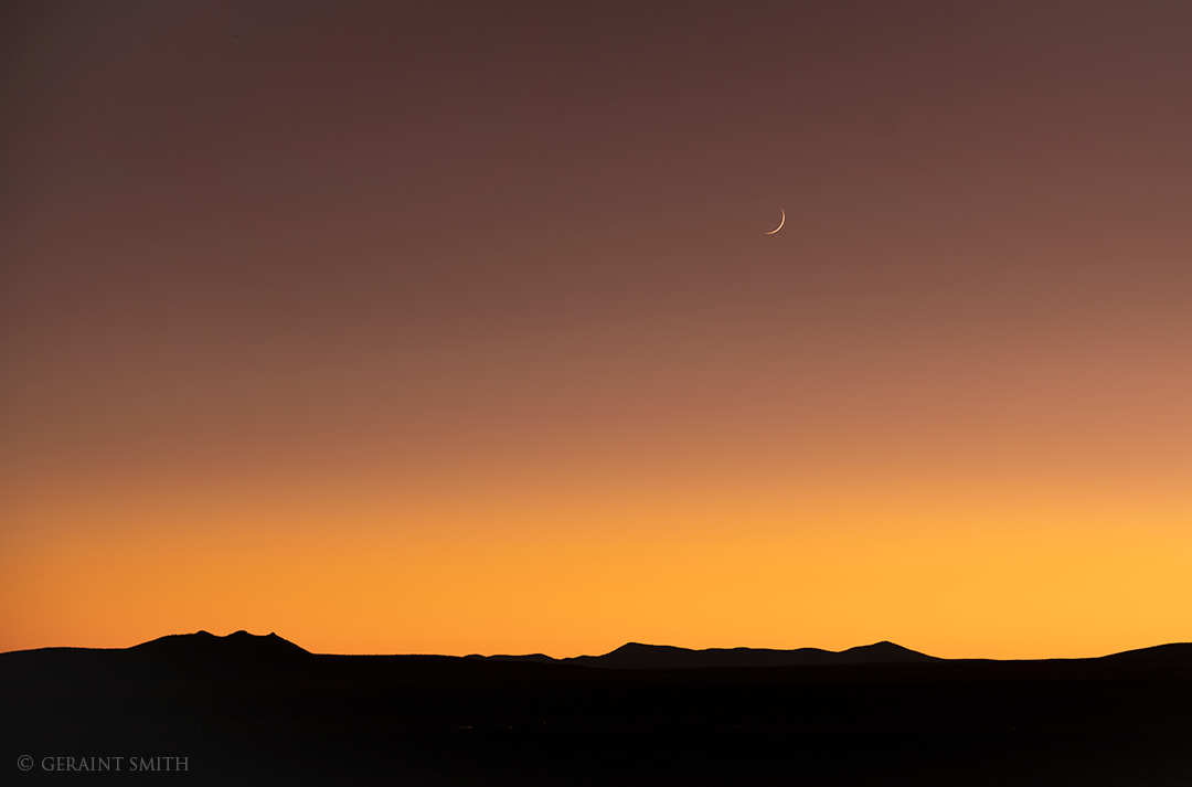 Three Peaks, Jemez Mountains, Crescent Moon, Sunset
