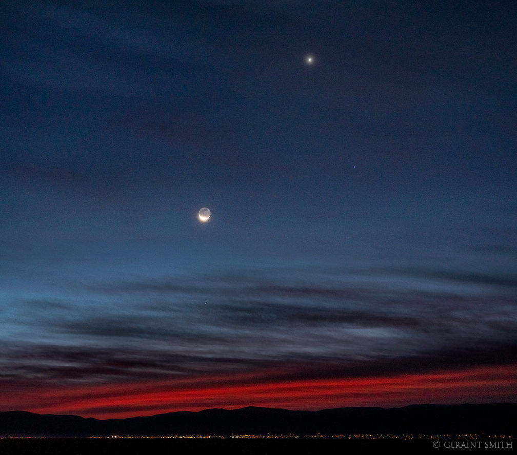 Venus, Crescent Moon, Spica, Mercury, Taos