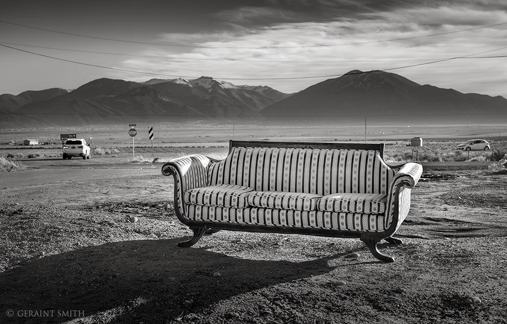 Sunset viewing sofa, West Rim Road, Taos.