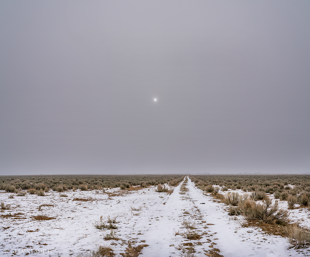 Plateau Road, Snowstorm, Low Cloud, Taos, New Mexico