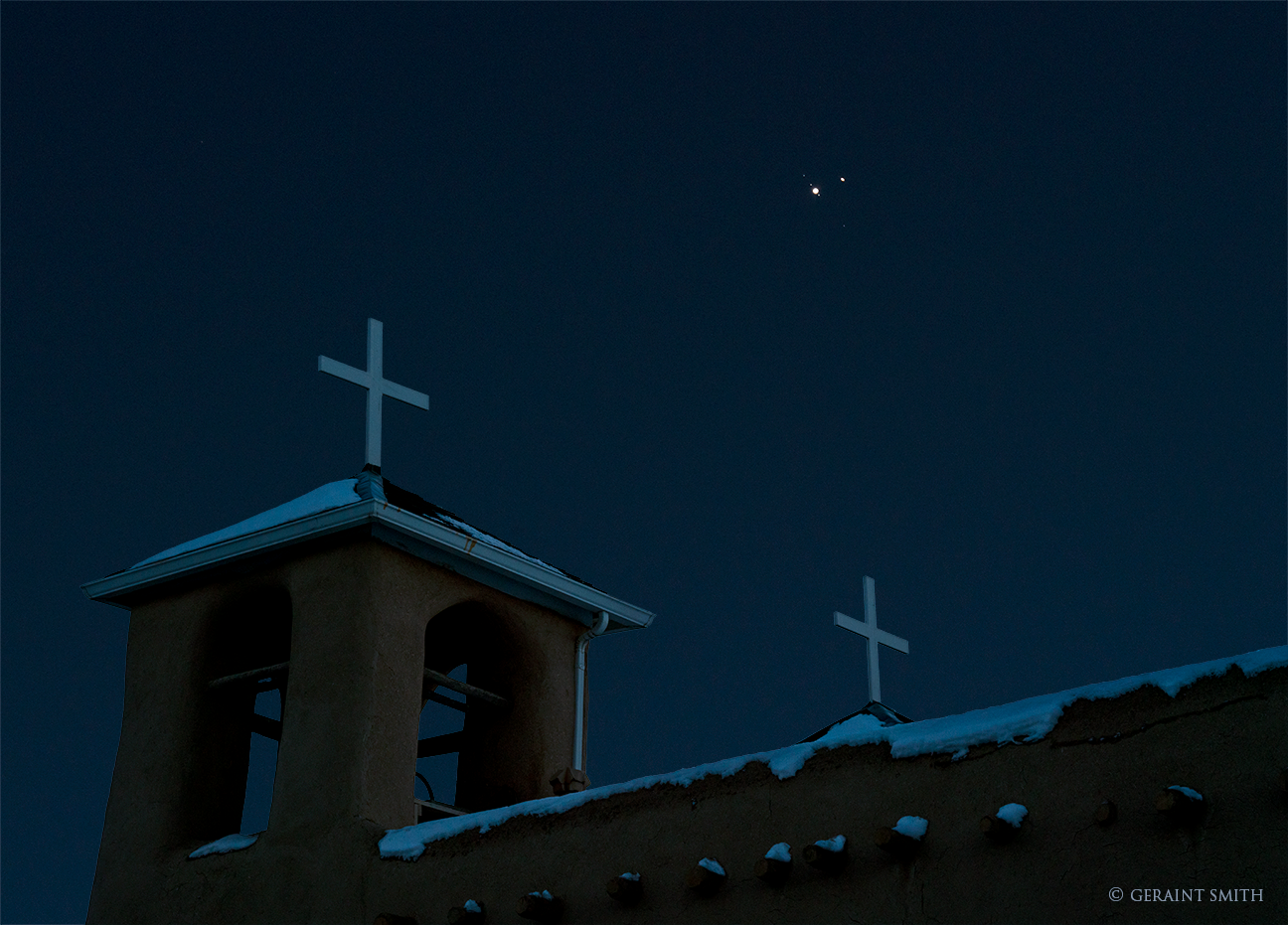 Saint Francis Church, Ranchos de Taos, with Saturn, Jupiter, Conjunction.