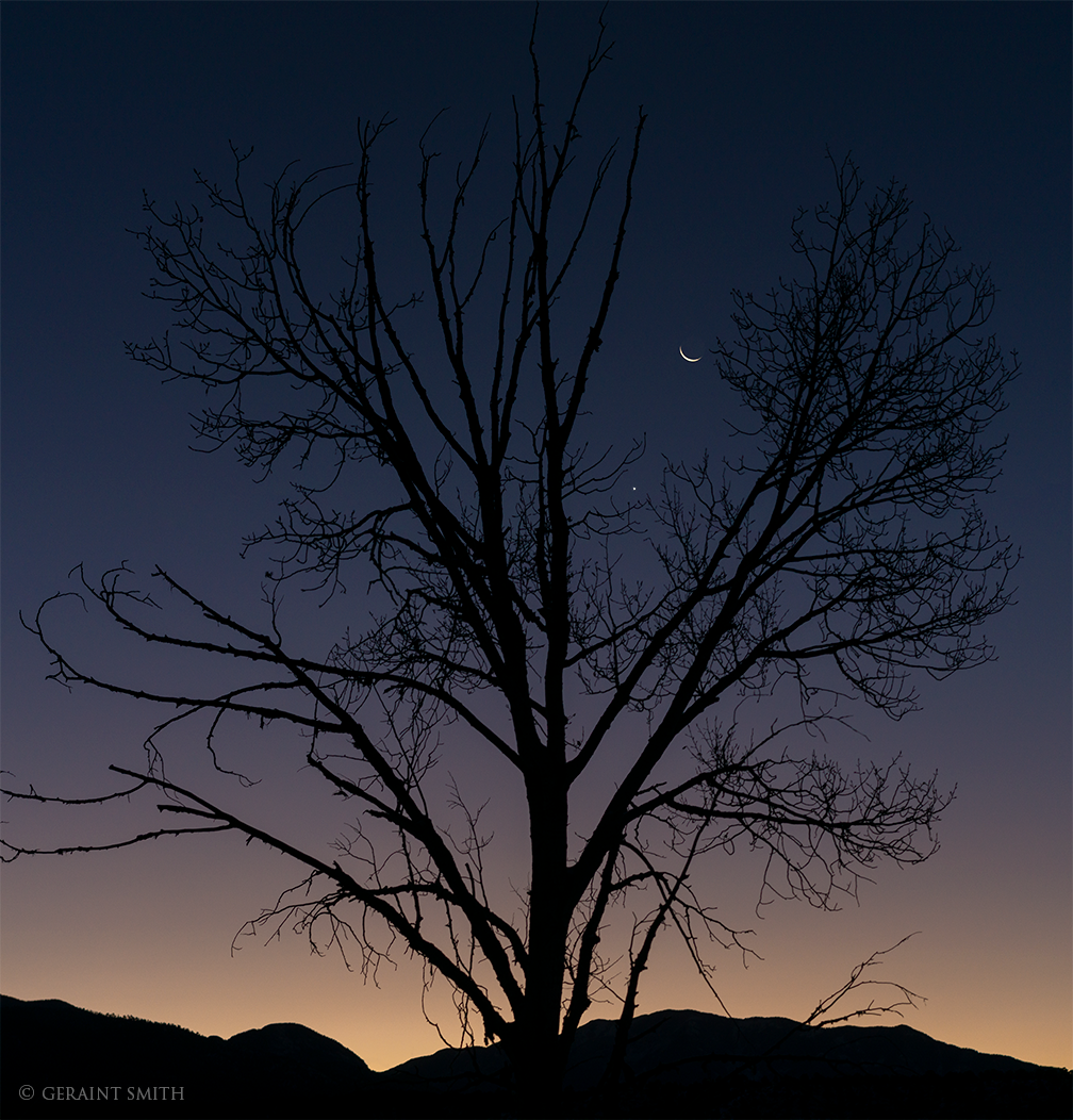 Venus, Crescent Moon, Rising, Sangre De Cristo Mountains, NM