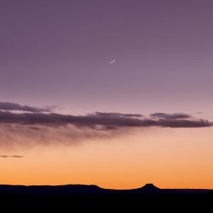 Cerro Perdernal Crescent moon Sunset
