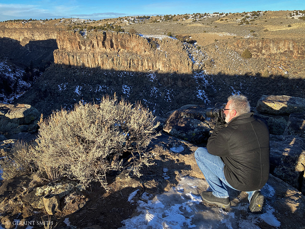 Harry photographing the Rio pueblo canyon