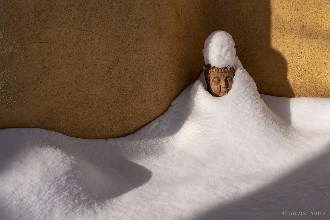 Garden Buddha, snow