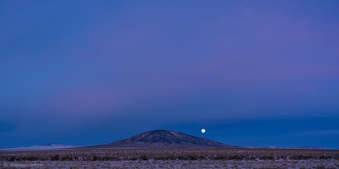 Ute Mountain, Wolf Moon and across the plateau to San Antonio Mountain.