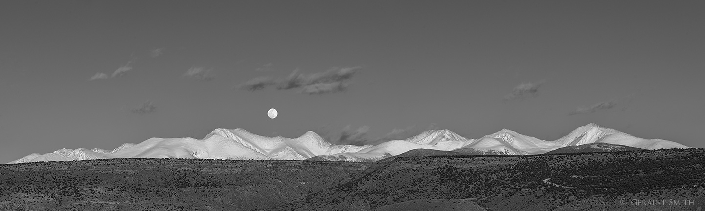The full moon rising last Saturday over the Sangre de Cristo Mountains of southern Colorado