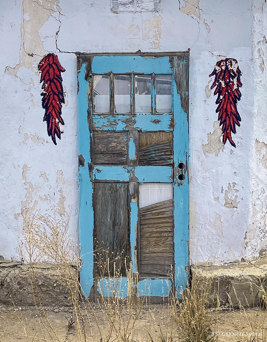 Blue door with chile Trompe l'oeil in Costilla, NM
