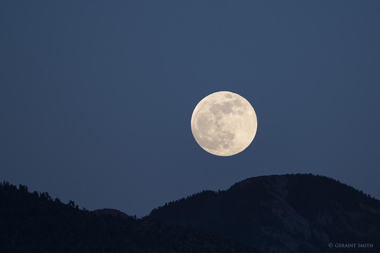 Full moon rise over the Sangre de Cristo Mountains, NM