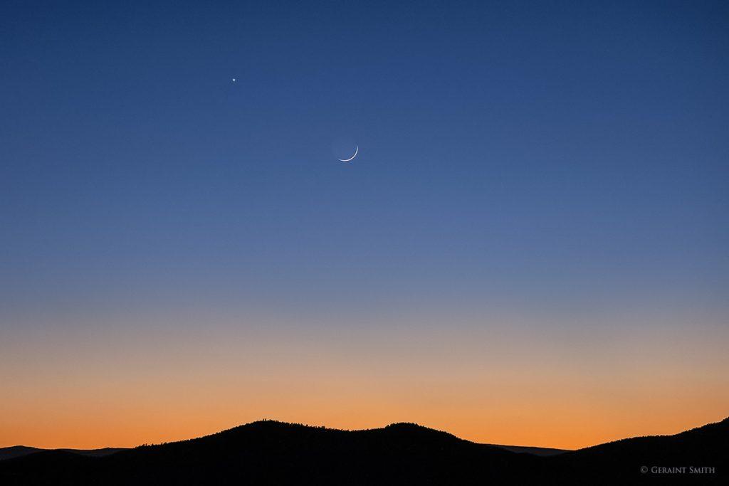 Venus, Moon, sunset
