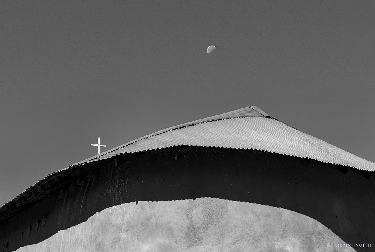 Placitas chapel and moon