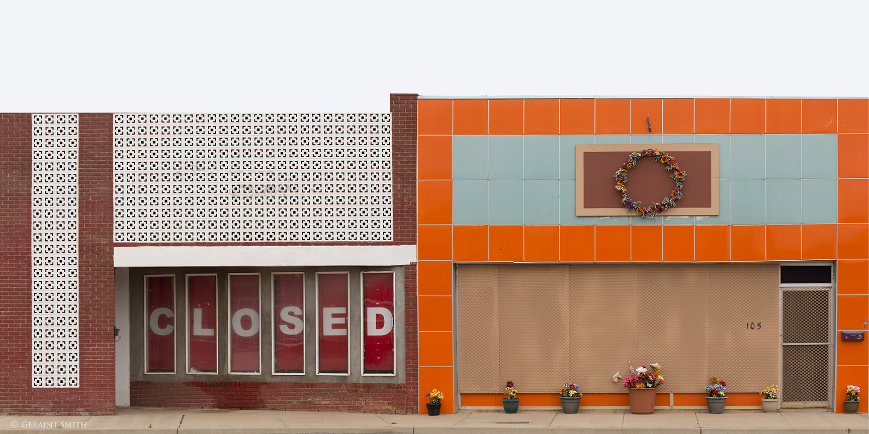 Closed and potted plant store front, Tucumcari, NM